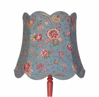 Antique pink lamp stand with powder blue  french country cottage shade