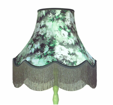 Mint green lamp with green and grey watercolour floral shade